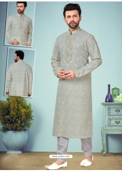 Grayish Green Readymade Designer Party Wear Kurta Pajama For Men