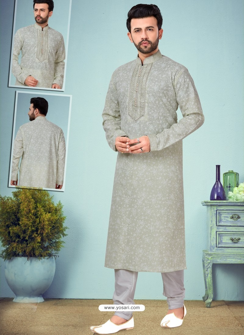 Grayish Green Readymade Designer Party Wear Kurta Pajama For Men