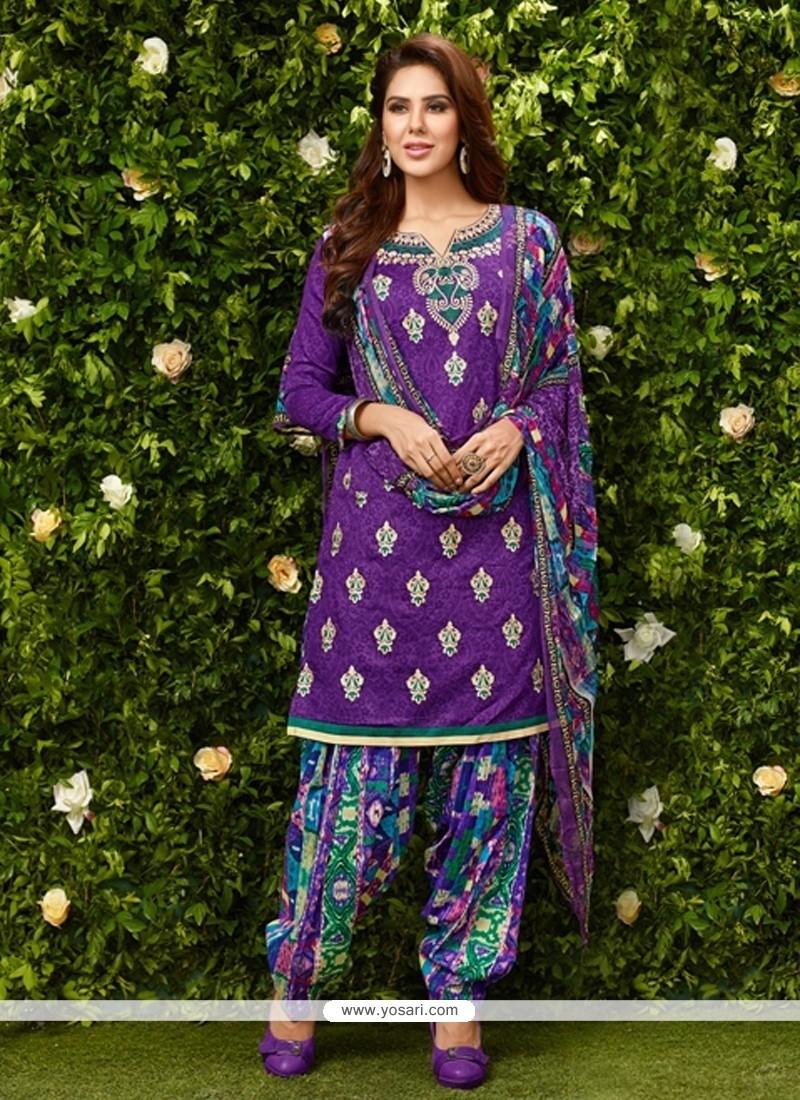 Princely Purple Glessh Designer Patila Salwar Suit