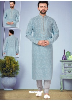 Aqua Grey Readymade Designer Party Wear Kurta Pajama For Men