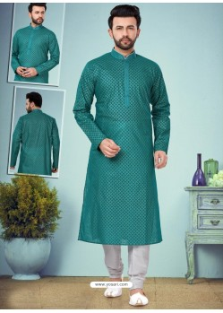 Teal Readymade Designer Party Wear Kurta Pajama For Men
