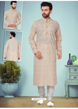 Light Beige Readymade Designer Party Wear Kurta Pajama For Men
