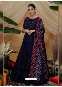 Navy Blue Latest Heavy Designer Party Wear Anarkali Suit