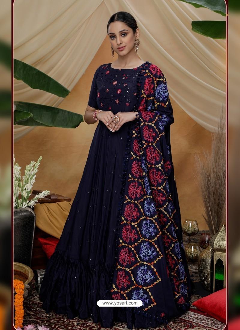 Navy Blue Latest Heavy Designer Party Wear Anarkali Suit