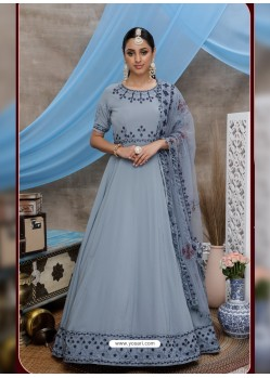 Light Grey Latest Heavy Designer Party Wear Anarkali Suit