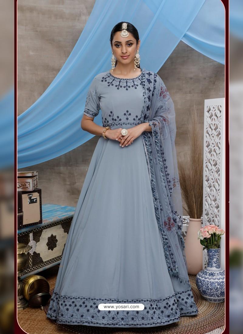 Light Grey Latest Heavy Designer Party Wear Anarkali Suit