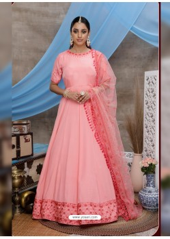 Peach Latest Heavy Designer Party Wear Anarkali Suit