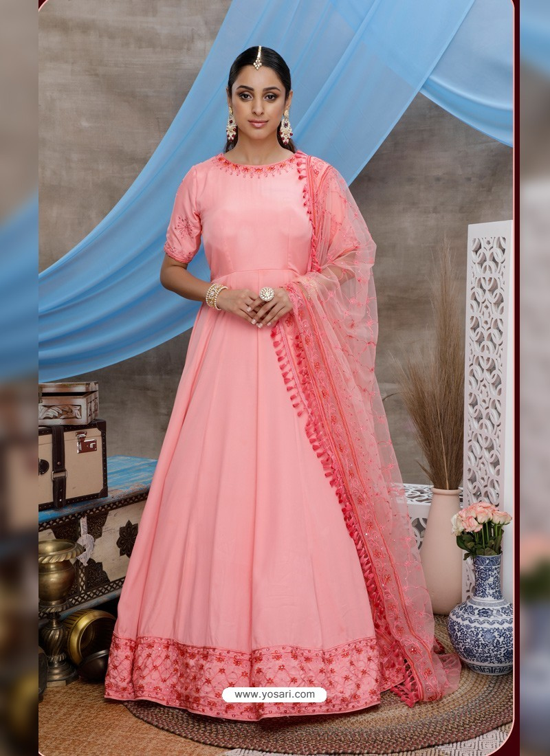 Peach Latest Heavy Designer Party Wear Anarkali Suit