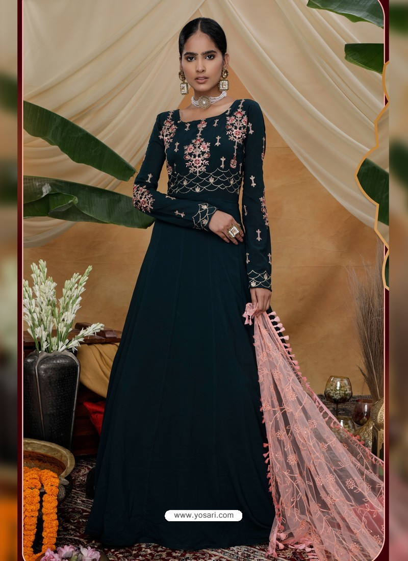 Black Latest Heavy Designer Party Wear Anarkali Suit