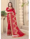 Tomato Red Party Wear Designer Embroidered Vichitra Blooming Silk Sari