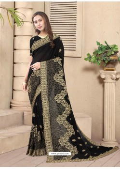 Black Party Wear Designer Embroidered Vichitra Blooming Silk Sari