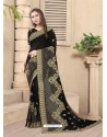 Black Party Wear Designer Embroidered Vichitra Blooming Silk Sari