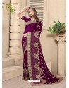 Deep Wine Party Wear Designer Embroidered Vichitra Blooming Silk Sari