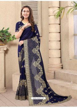 Navy Blue Party Wear Designer Embroidered Vichitra Blooming Silk Sari