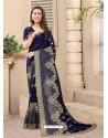 Navy Blue Party Wear Designer Embroidered Vichitra Blooming Silk Sari