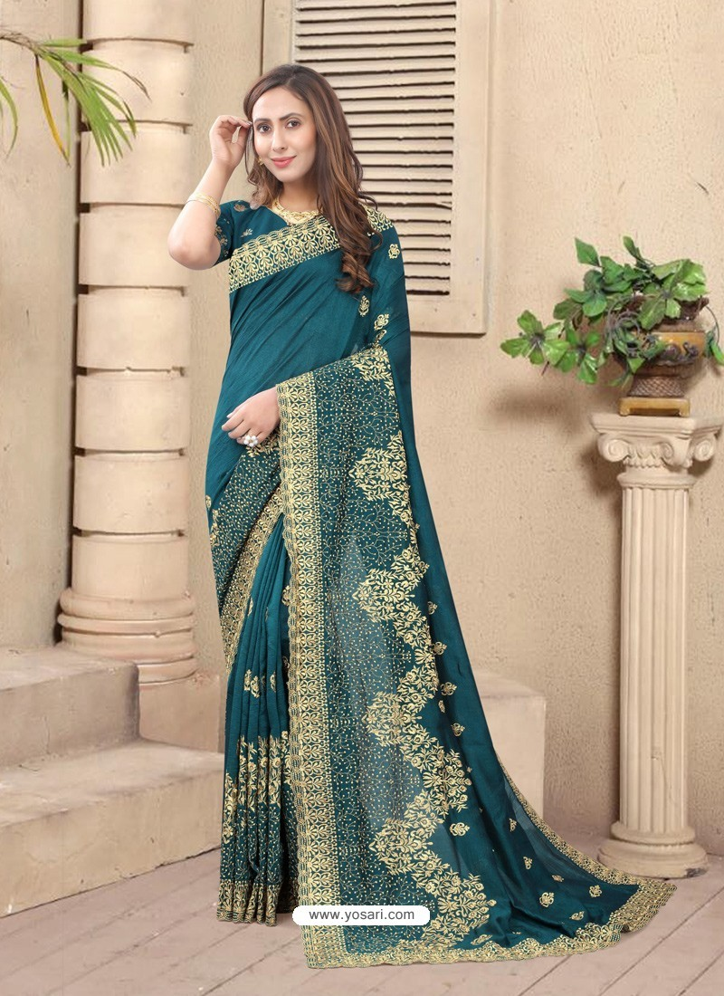 Teal Blue Party Wear Designer Embroidered Vichitra Blooming Silk Sari
