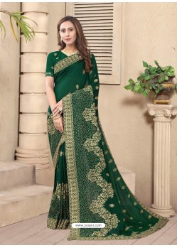 Dark Green Party Wear Designer Embroidered Vichitra Blooming Silk Sari