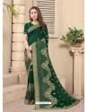 Dark Green Party Wear Designer Embroidered Vichitra Blooming Silk Sari