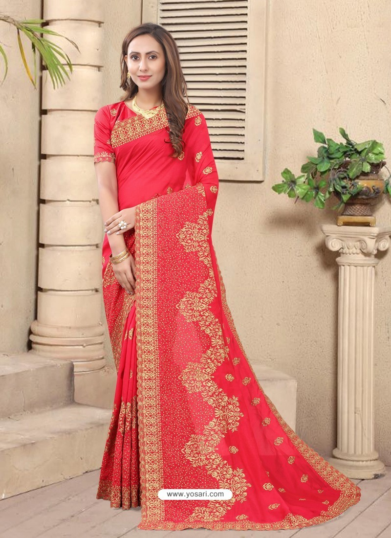 Dark Peach Party Wear Designer Embroidered Vichitra Blooming Silk Sari