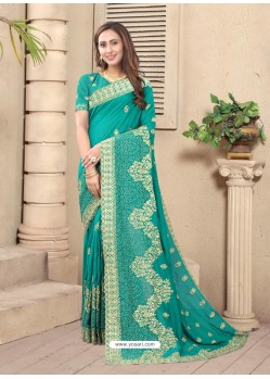 Turquoise Party Wear Designer Embroidered Vichitra Blooming Silk Sari