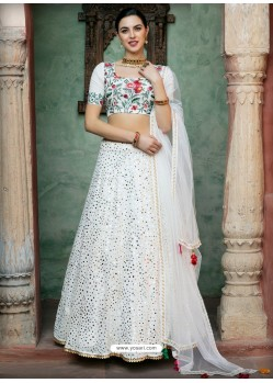 White Georgette Designer Wedding Wear Lehenga Choli