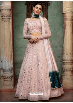 Baby Pink Georgette Designer Wedding Wear Lehenga Choli