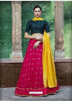 Rose Red Georgette Designer Wedding Wear Lehenga Choli