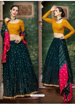 Dark Green Georgette Designer Wedding Wear Lehenga Choli