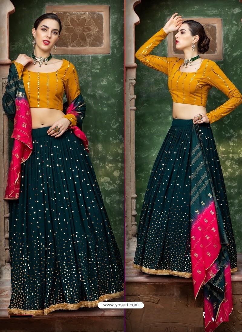 Dark Green Georgette Designer Wedding Wear Lehenga Choli