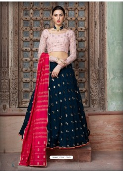 Navy Blue Georgette Designer Wedding Wear Lehenga Choli