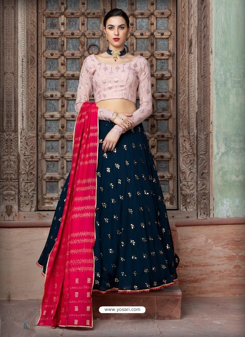 Navy Blue Georgette Designer Wedding Wear Lehenga Choli
