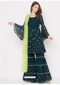 Dark Green Heavy Readymade Designer Party Wear Georgette Sharara Suit