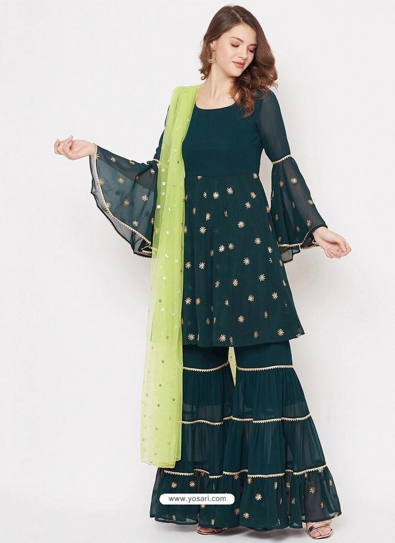 Dark Green Heavy Readymade Designer Party Wear Georgette Sharara Suit
