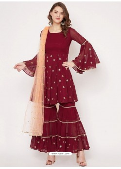Maroon Heavy Readymade Designer Party Wear Georgette Sharara Suit