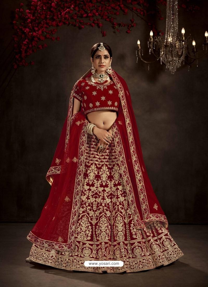 Maroon Heavy Embroidered Designer Bridal Lehenga Choli
