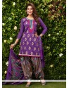 Enthralling Purple Glessh Designer Patiala Suit