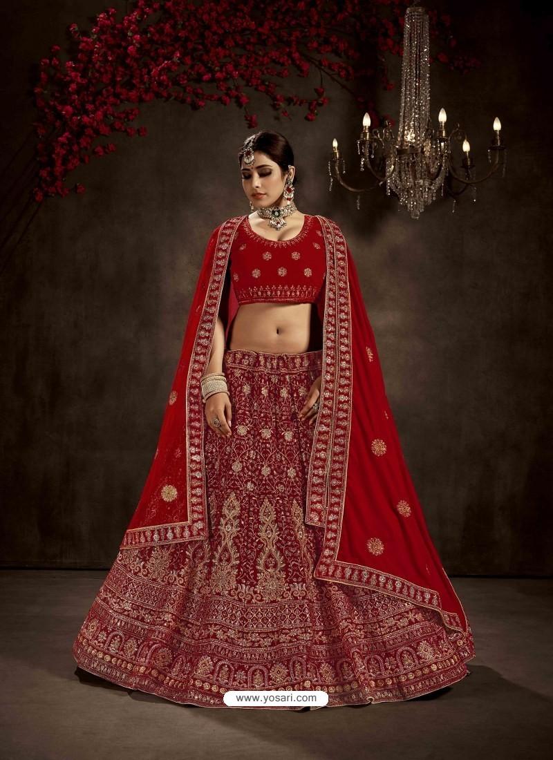 Tomato Red Heavy Embroidered Designer Bridal Lehenga Choli