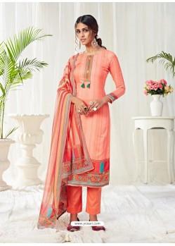 Light Orange Designer Party Wear Cotton Salwar Suit