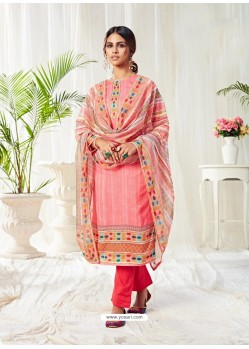 Peach Designer Party Wear Cotton Salwar Suit