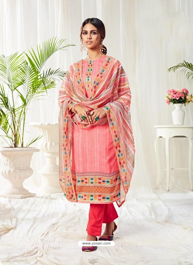 Peach Designer Party Wear Cotton Salwar Suit