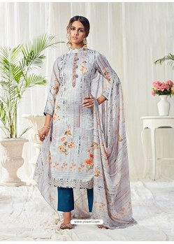 Light Grey Designer Party Wear Cotton Salwar Suit