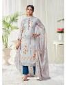 Light Grey Designer Party Wear Cotton Salwar Suit