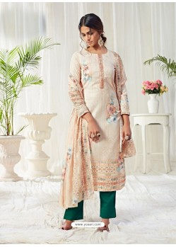 Light Beige Designer Party Wear Cotton Salwar Suit