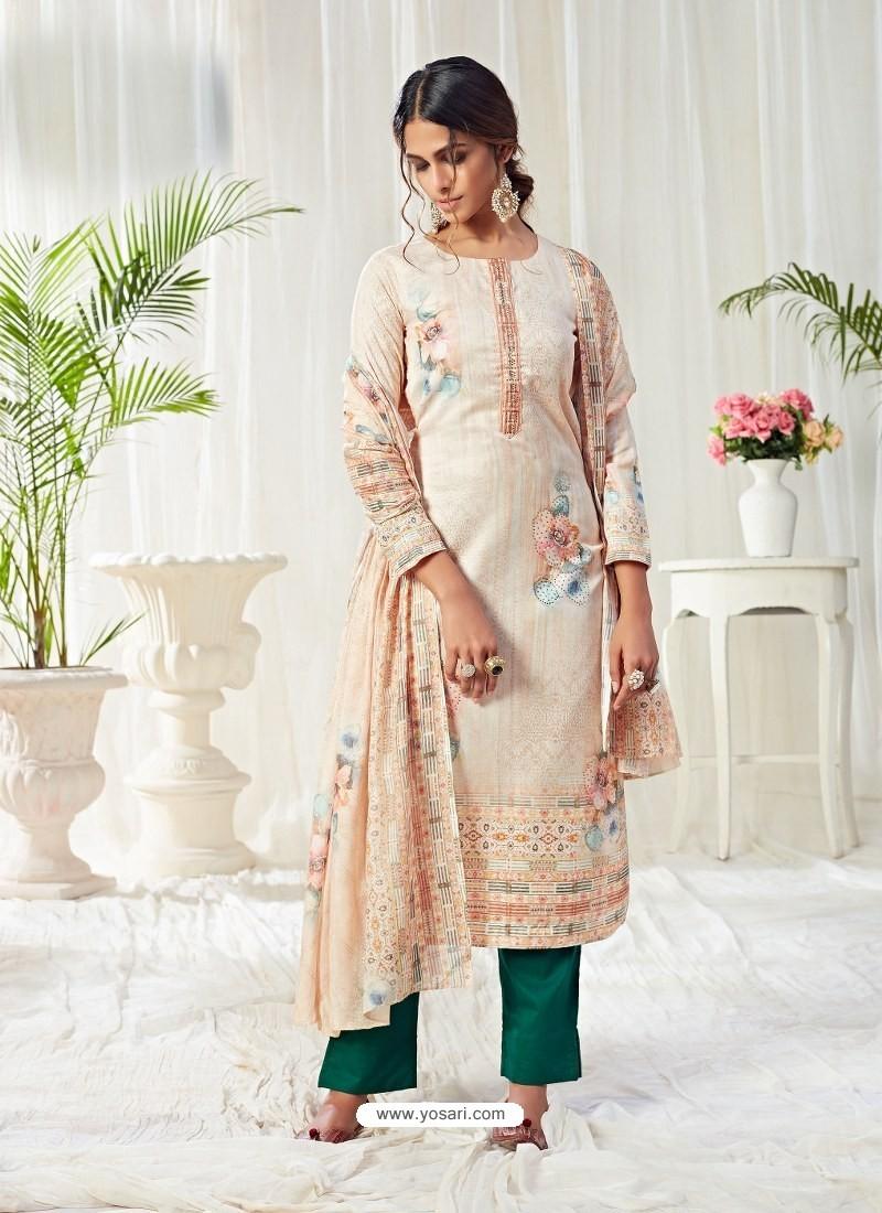 Light Beige Designer Party Wear Cotton Salwar Suit