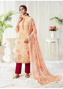 Cream Designer Party Wear Cotton Salwar Suit