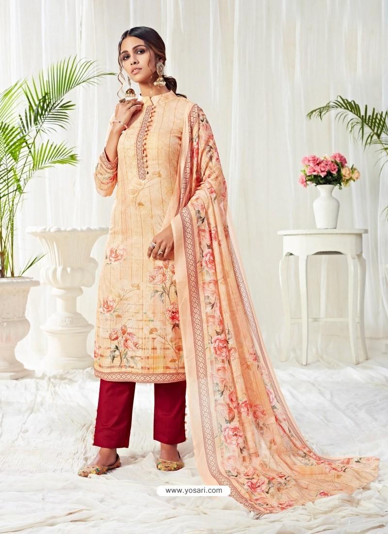 Cream Designer Party Wear Cotton Salwar Suit