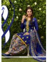 Orphic Embroidered Work Glessh Blue Designer Patiala Suit