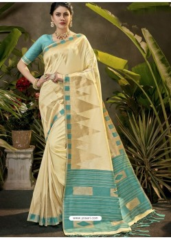 Awesome Cream Party Wear Designer Phantom Silk Sari