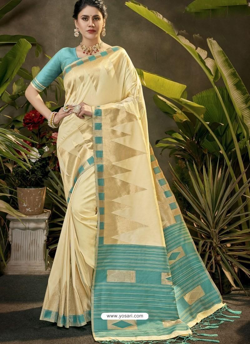Awesome Cream Party Wear Designer Phantom Silk Sari
