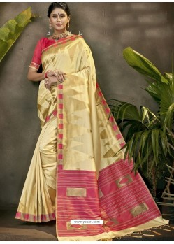 Fabulous Cream Party Wear Designer Phantom Silk Sari